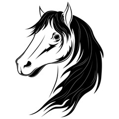 Vector image of a black horse on a white background.