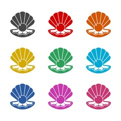 Open shell with a pearl icon or logo, color set