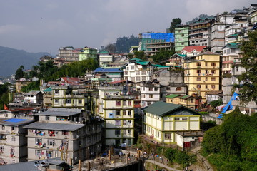 Houses on hillside, Gangtok,  Sikkim, India