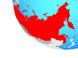 Russia on simple globe.