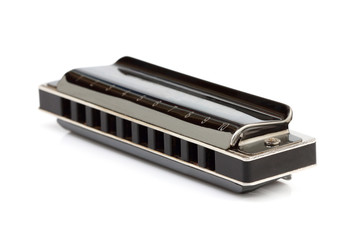 Diatonic harmonica isolated.