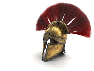 Spartan helmet with red plumage . 3d illustration