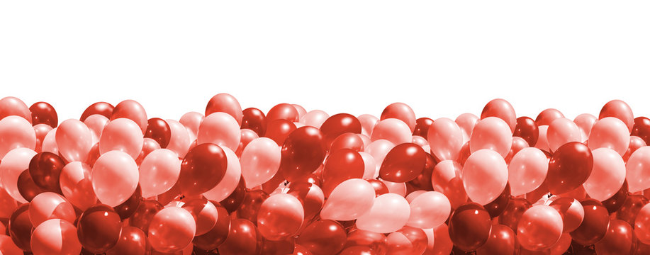 balloons in trendy living coral color