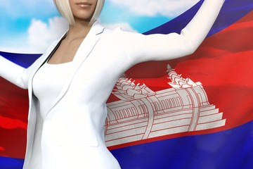 beautiful business woman holds Cambodia flag in hands behind her back on the blue sky background - flag concept 3d illustration