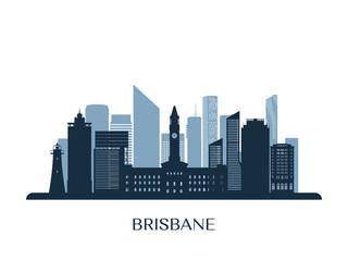 Brisbane skyline, monochrome silhouette. Vector illustration.