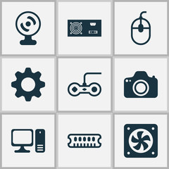 Hardware icons set with gear, cpu fan, power supply and other power generator