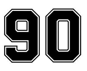 Classic Vintage Sport Jersey Number 90 in black number on white background for american football, baseball or basketball / logos and t-shirt.