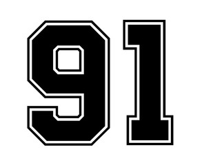 Classic Vintage Sport Jersey Number 91 in black number on white background for american football, baseball or basketball / logos and t-shirt.