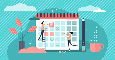 Planning vector illustration. Flat mini persons concept date, time calendar