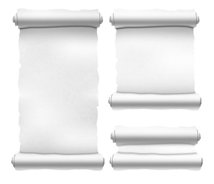 Set of old white textured scrolls different shapes on white