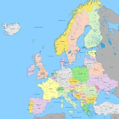 Europe political map | High detail color vector atlas with capitals, cities, towns names, seas, rivers and lakes | High resolution map of Europe in Mercator projection