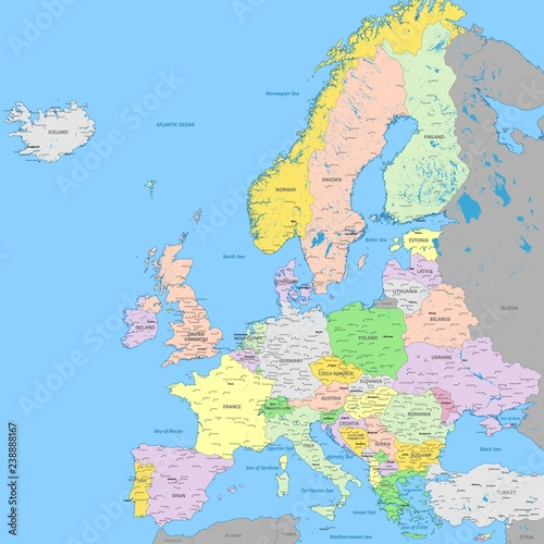 Europe political map | High detail color vector atlas with capitals ...