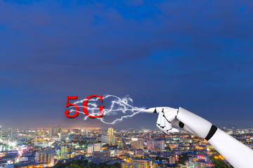 Robot hand with communication technology digital network 5g