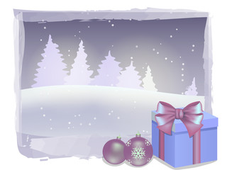 Gift box and decorations on winter landscape background. Christmas and New Year vector illustration.