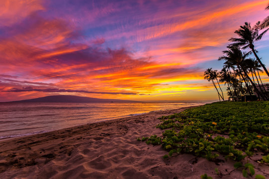 Kaanapali Beach on Maui, Hawaii at Sunset