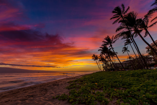 Kaanapali Beach on Maui, Hawaii at Sunset