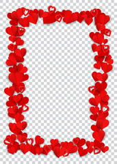 Vertical rectangle frame consisting of many small red paper hearts on transparent background
