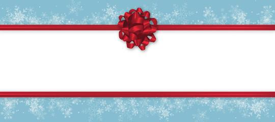Winter Geschenkkarte Banner Header Panorama Schnee rote Schleife