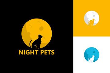 Night Pets Logo Template Design Vector, Emblem, Design Concept, Creative Symbol, Icon