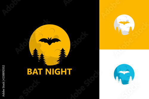 Bat Night Logo Template Design Vector Emblem Concept Creative Symbol Icon