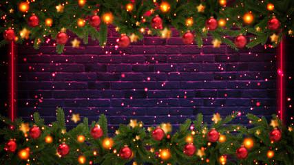 Christmas tree garland on the background of a dirty wall with festive illumination. Christmas balls on the garland, Neon lights, rays, bokeh, smoke