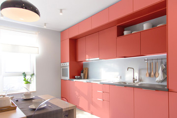 Kitchen interior in light colors. Scandinavian style. Color of the year 2019 living coral. banner