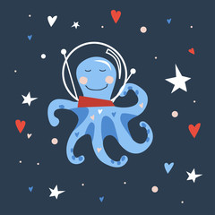 Vector hand drawn illustration for kids of cute blue little octopus in spaceman helmet with red and blue hearts on starry night sky