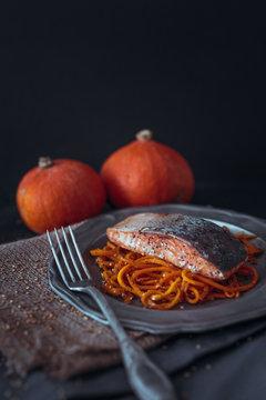 Salmon with pumpkin noodles