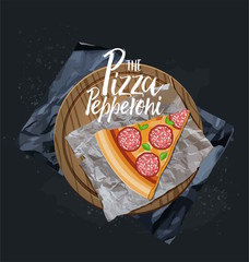 Slice Pizza on the wood board Vector illustration.