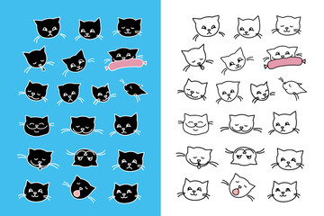 Set of cat faces,black and white style