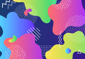 Vector abstract pop art pattern background with lines and dots. Modern liquid splashes of geometric shapes in trendy memphis style