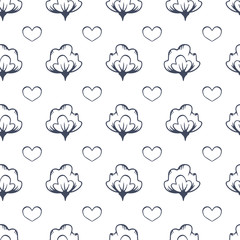 Cottonboll Love line art seamless pattern background. Perfect for fabric, scrapbooking and wallpaper projects.
