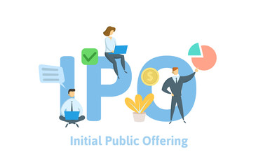 IPO, initial public offering. Concept with people, letters, and icons. Colored flat vector illustration. Isolated on white background.