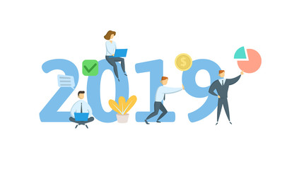 Banner concept for new year 2019. Concept with keywords, letters and icons. Colored flat vector illustration. Isolated on white background.