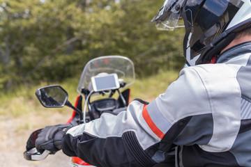 Man on a motorbike trip