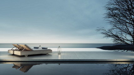 Beach lounge - Sun lounger on Sea view for vacation and summer / 3d render interior