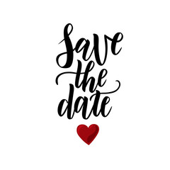 Save the date hand lettering postcard. Wedding phrase. Vector illustration. Modern brush calligraphy. Isolated on white background.