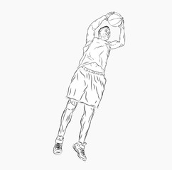 Basketball player in a jump with the ball in his hands. Outdoor sports. Vector illustration