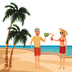 couple with tropical beverage