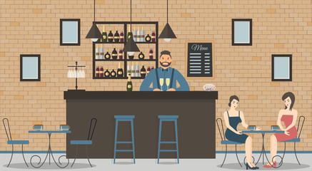 Interior of cafe or bar in loft style. Bar counter, bartender in blue shirt with glasses of champagne,beautiful women and shelves with bottles of alcohol.Board with menu and photos.Vector illustration