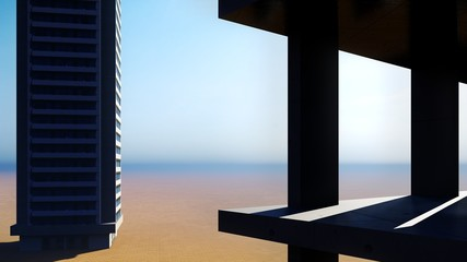 construction site on a desert 3d rendering