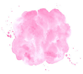 Rose pink watercolor stains painted texture. Valentines, 8 March, Women day watercolour background for text, cards, banners. Rounded, uneven circle shape, brush stroke. Hand drawn aquarelle fill.