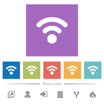 Radio signal flat white icons in square backgrounds