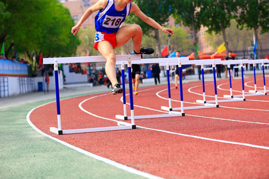 Hurdle race, on the track and field
