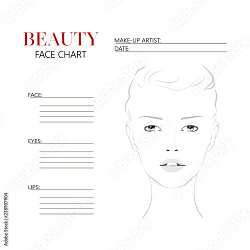 Beauty Face Chart Beautiful Woman With Open Eyes Face Chart Makeup