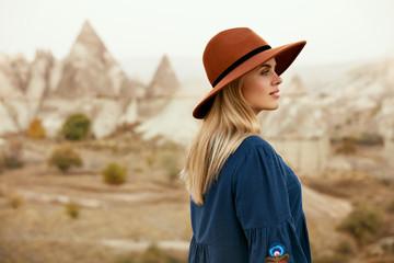 Fall Fashion. Beautiful Woman In Hat, Dress In Nature Portrait Wall mural