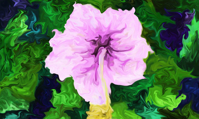 Digital painting of a pink hibiscus flower, abstract illustration