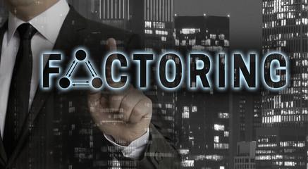 Factoring Konzept wird von Geschäftsmann gezeigt