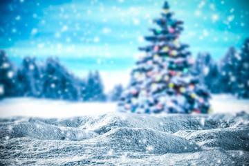 Festive Christmas tree in winter beautiful frosty evening