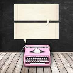 3d illustration rendering of pink typewriter and old paper striped frames against blackboard background